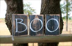 BOO primitive shelf sitter blocks BLACK and by AmericasFrontPorch, $12.50