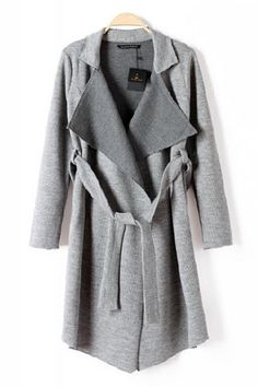 Grey Turn-down Collar Long Sleeve Knit Trench Coat