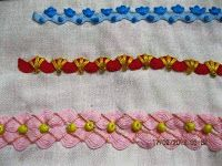rickrack and embroidery stitches.(cool embroidery stitches [and beads] for unique rick rack results! Silk Ribbon Embroidery, Embroidery Stitches, Embroidery Patterns, Machine Embroidery, Sewing Crafts, Sewing Projects, Crazy Quilt Stitches, Crazy Quilting, Rick Rack