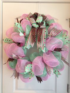 Mint green and pink deco mesh wreath