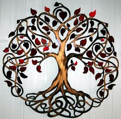 Red Pearl Leaf Infinity Tree of Life Wall by HumdingerDesignsEtsy