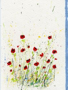 Ideas for Splattered Paint Poppy Flowers Card-myflowerjournal.om
