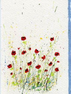 Ideas for Splattered Paint Poppy Flowers Card-myflowerjournal.om