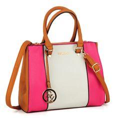 Sally Young Contrast Color Patchwork Handbag in Fushia