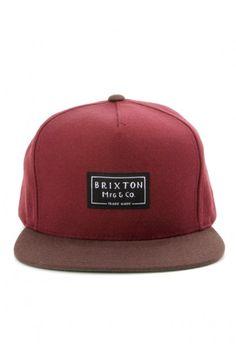 Brixton Clothing Guide Snapback Hat - Maroon/Brown $28.00