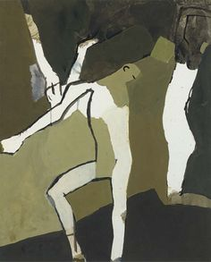 Artwork by Keith Vaughan, Two Figures, Made of black ink, crayon and gouache