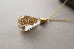 Gold Leaf Liquid Glass Vial Necklace Bottle by AllsortsBazaar