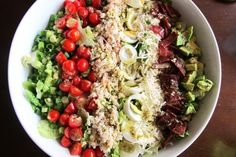 Crab Cobb Salad with Lemon Basil Vinaigrette | Tasty Kitchen (I'd probably substitute the crab for tuna or even chicken!)