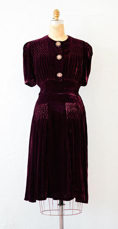 vintage 1930s velvet dress with smocking | #1930s #30svintage from Adored Vintage