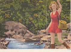 Vintage Fishing Girl Old Postcard