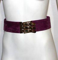 Judith Leiber vintage purple suede adjustable belt with gold metal clasp front