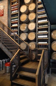 Vintage Industrial Decor Wood Look Flooring on Stairs Decoration Restaurant, Deco Restaurant, Restaurant Marketing, Restaurant Advertising, Restaurant Guide, Vintage Restaurant, Cave A Vin Design, Bar Deco, Wine House