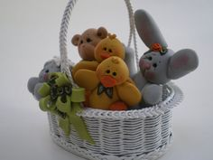 Polymer Clay Bunny, Teddy Bear, Chicks and Lambs all in an Easter Basket by Helens Clay Art via Etsy