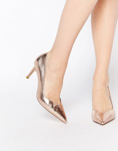 Image 1 of Dune Alessia Rose Gold Sweetheart Heeled Court Shoes