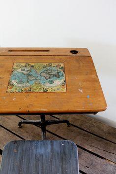 vintage school desk School Desk Redo, Old School Desks, Kids Furniture, Vintage Furniture, Childrens Desk, Chair Height, Kid Desk, Vintage School, Wood Slats