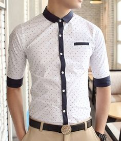 $12.43 Fashionable Shirt Collar Stains Print Color Block Cuffs Half Sleeves Polyester Shirt For Men