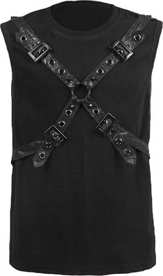 A black cotton men's top by gothic clothing brand Punk Rave, sleeveless shirt with straps and rivets detail.