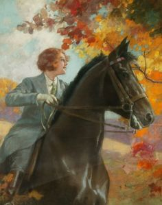 Henry Hintermeister: Woman on Horse in Autumn