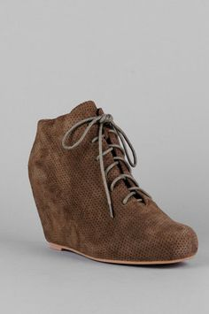 Jeffrey Campbell Galeo Suede Lace Up Wedge Booties in Grey Perforated Suede $111 at www.tobi.com