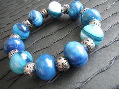 Gemstone Bracelet with Beautiful Blue by TwistedDesignsbyBeth, $15.00