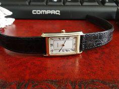Vintage Tissot 14K Gold Tank Watch Roman Dial w/ 13mm Tissot Leather Band! #Tissot #LuxuryDressStyles