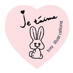 'Je t'aime' Bunny Heart Sticker - 'HEAVEN & ELEVEN' by foxy illustrations