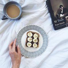 """My kind of after-work afternoon Hazelnut Butter, Chocolate Hazelnut, Patti Smith, Banana Slice, Afternoon Tea, Latte, Toast, Instagram Posts, Food"