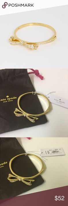 ‼Price Drop‼ Kate Spade - NWT Love Notes Bracelet Kate Spade - NWT Love Notes Pave Crystal Bow Bracelet. Beautiful hinged bangle bracelet  Comes with dust bag, open to offers. kate spade Jewelry Bracelets