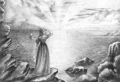 Sunrise Over Sea, 13 November 1839 Signed and dated 'Anne Brontë', 'November Drawn while Anne was governess to the Ingham children at Blake Hall, Mirfield (this was near to Roe Head School). Anne was nineteen at the time. Charlotte Bronte, Emily Bronte, Bronte Parsonage, Soul Friend, Bronte Sisters, Bad Picture, Pilgrimage, Art And Architecture, Word Art