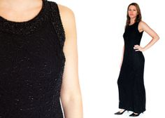 1990s Black BEADED SILK Evening Gown Extra by LoveologyVintage, $72.00