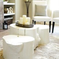 Painted Tree Stump Coffee Table {Coffee & Side Tables}