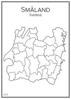 Småland. Sverige. Karta. City print. Print. Affisch. Tavla. Tryck. Geography Map, City Maps, Genealogy, Creative Design, Norway, Sweden, Projects To Try, Around The Worlds, History