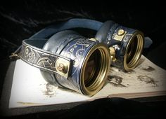 Steampunk goggles in TARDIS blue leather with by TheTimeCabinet