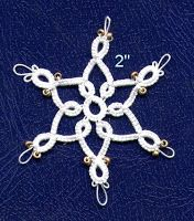 The Tarnished Tatter: 25 motif Challenge 12 of 25 - 6 Point Snowflake with Beads - Free pattern by Heather #tatting #snowflake