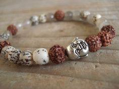 Buddha Bead Bracelet with Rudraksha  by MakeMeSmileJewelry on Etsy,
