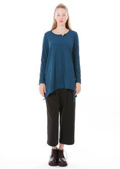Tunika von Elemente Clemente bei nobananas mode #nobananas #bio #organic #cotton #tunic #petrolblue #asymmetric #wide #fit nobananas.de/shop