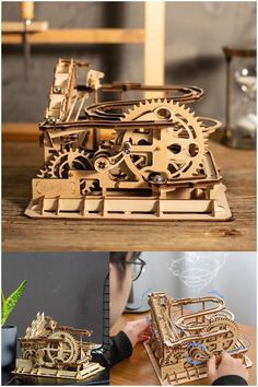 Shake the handle, the marbles would roll through the track over and over again.#gift #braingame #kid #child Wooden Model Kits, Wood Pieces, Model Building, Marbles, Shake, Gifts For Kids, Track, Handle, Running