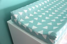 aqua hand drawn triangles contoured changing pad cover by iviebaby, $45.00 (size 32x16x4 inches)