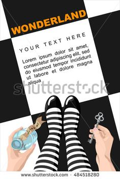 Alice in wonderland. Background.Alice looks at key and potion in the hands. Alice makes the choice. Stock vector, place for  text,  template for design. Wonderland card. Wonderland poster