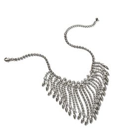 Chico's Chandra Crystal Fringe Bib Necklace