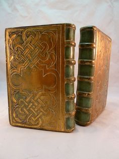 Vintage Borghese Bookends Italian Gilt Plaster Gold Green Book Shaped Book Ends #Borghese