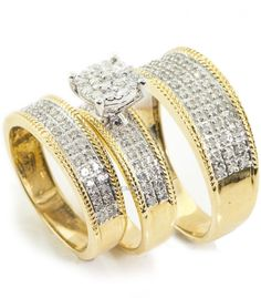Diamond Trio Set Matching Engagement Ring Wedding Band 10K Yellow Gold 1.79 Ct #SolitaireWithAccents