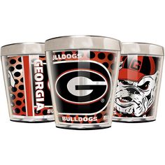 Great American Products Officially Licensed NCAA 3-piece Acrylic & Stainless Steel Shot Glass Set - Georgia Bulldogs