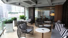 Outdoor Seating at the Hilton Sukhumvit Bangkok Executive Lounge Outdoor Seating, Outdoor Decor, Bangkok Hotel, Lounges, Hospitality, Family Travel, Outdoor Furniture Sets, Patio, Home Decor