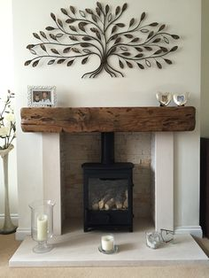 Casual Luxury, living room ideas, wood beam mantle, tree wall decor, tree art – Dream Home – fireplace Gas Stove Fireplace, Wood Burner Fireplace, Home Fireplace, Living Room With Fireplace, Fireplace Design, Fireplace Ideas, Brick Fireplace, Wood Stove Hearth, Farmhouse Fireplace