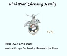 POP! 18kgp Fly Pig Pearl Bead Cage /Pendant with Rhodium Plated for Jewelry, Bracelet /Necklace, Free Shipping $7.50 ---- Jewelryfy http://www.aliexpress.com/store/908152