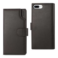 REIKO IPHONE 7 PLUS GENUINE LEATHER WALLET CASE WITH OPEN THUMB CUT IN UMBER
