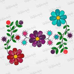Vector Flores Bordado Ayacuchano Hand Embroidery Flowers, Silk Ribbon Embroidery, Diy Embroidery, Free Machine Embroidery Designs, Hand Embroidery Patterns, Beading Patterns, Folk Art Flowers, Flower Art, Saree Floral