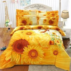 Orange Yellow and White Girl and Sunflower Print Princess Style Stylish and Elegant Brushed Cotton Full, Queen Size Bedding Sets Toddler Girl Bedding Sets, Girls Bedding Sets, Best Bedding Sets, Bedding Sets Online, Luxury Bedding Sets, Bedroom Sets, Unique Bedding, Modern Bedding, Bedrooms