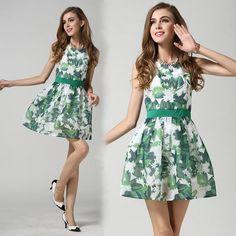 Women 3D Floral Print Ruffles Dresses Slim Party Dresses Vintage Sleeveless Design European Fashion Casual Dress Top Quality Online with $21.2/Piece on Smartmart's Store | DHgate.com